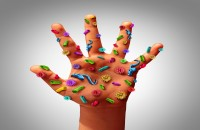 Hand with bacteria